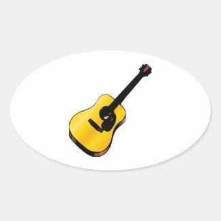 Guitarra del arte pop pegatina ovalada
