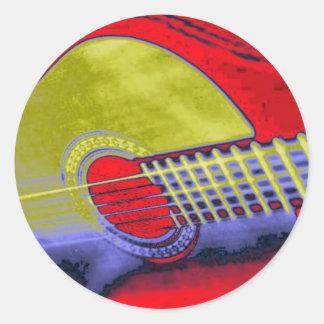 Guitarra del arte pop pegatina redonda