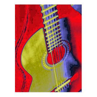 Guitarra del arte pop tarjeta postal