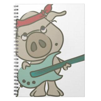 Guitarra del cerdo de la estrella del rock libreta