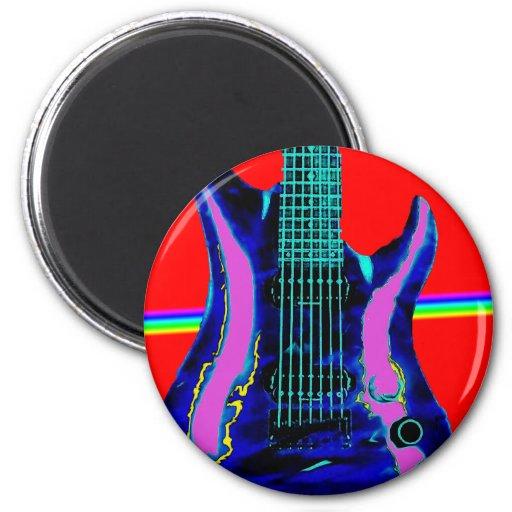 Guitarra del color de agua roja imán redondo 5 cm