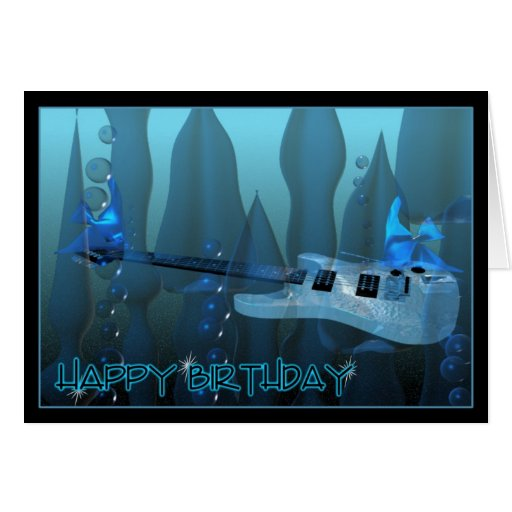 Guitarra del feliz cumpleaños tocada por los pesca felicitaciones
