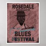 Guitarra del festival de los azules de Rosedale Mi Póster