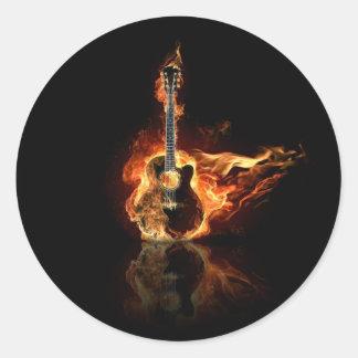 guitarra del flamin pegatina redonda