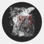 Guitarra del metal de la muerte pegatina redonda