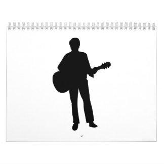 Guitarra del músico del concierto calendarios