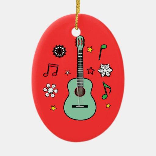 Guitarra del navidad adorno ovalado de cerámica