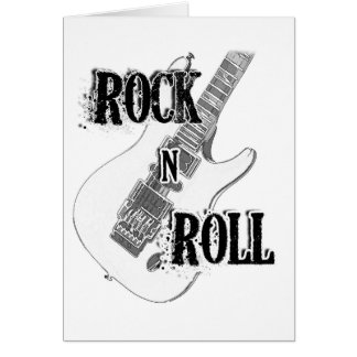 guitarra del rollo de la roca n tarjeta de felicitación