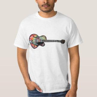 Guitarra del teñido anudado remera