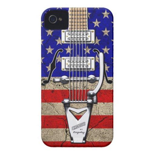 Guitarra del vintage de las barras y estrellas del iPhone 4 Case-Mate protectores