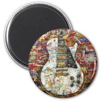 Guitarra del vintage - imán redondo 5 cm