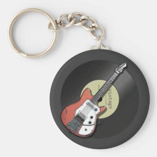 Guitarra del vintage llavero redondo tipo pin