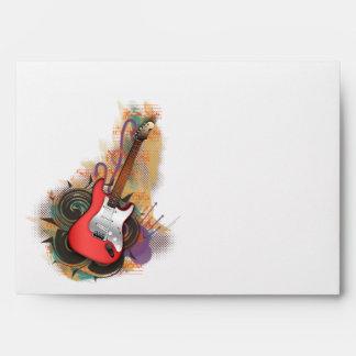 Guitarra del vintage - sobres de encargo del fondo