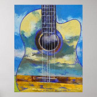 Guitarra e impresión de las nubes póster