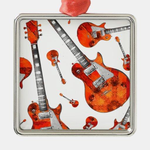 Guitarra eléctrica 07.jpg adorno navideño cuadrado de metal