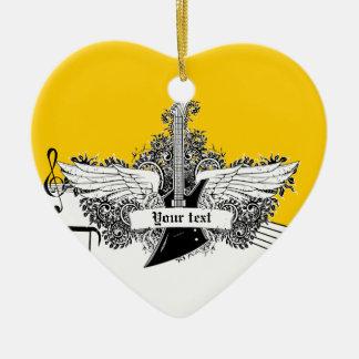 Guitarra eléctrica amarilla blanca negra con las adorno navideño de cerámica en forma de corazón