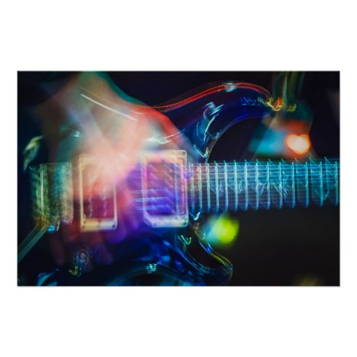 Guitarra eléctrica ardiente póster