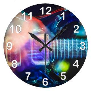 Guitarra eléctrica ardiente reloj redondo grande