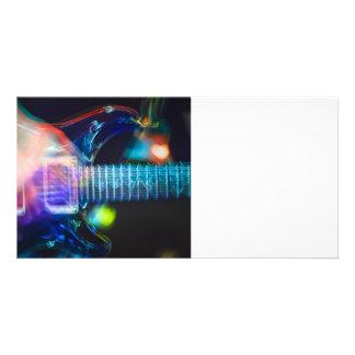 Guitarra eléctrica ardiente tarjetas fotográficas