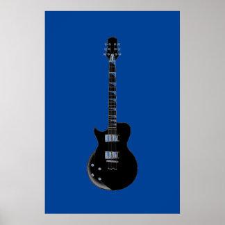 Guitarra eléctrica azul negra del arte pop póster
