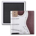 Guitarra eléctrica blanca 2 iman para frigorífico