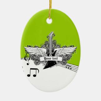 Guitarra eléctrica de la cal blanca negra y adorno navideño ovalado de cerámica