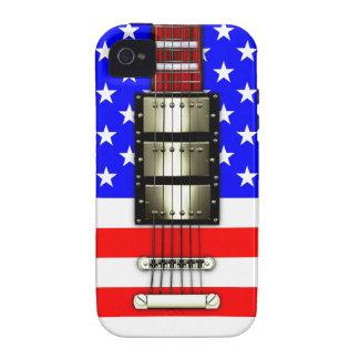 Guitarra eléctrica de las barras y estrellas vibe iPhone 4 fundas