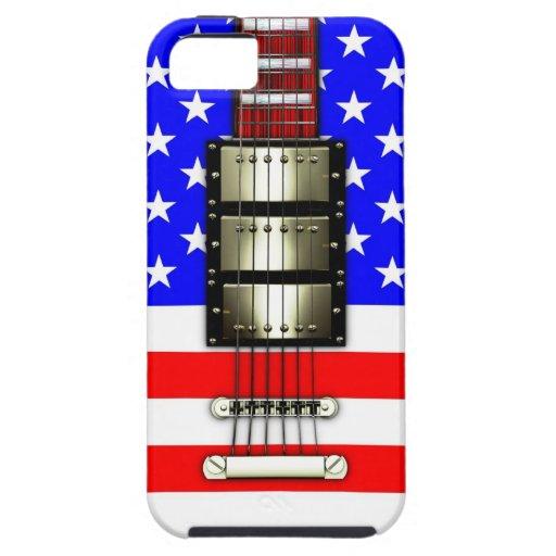 Guitarra eléctrica de las barras y estrellas funda para iPhone SE/5/5s