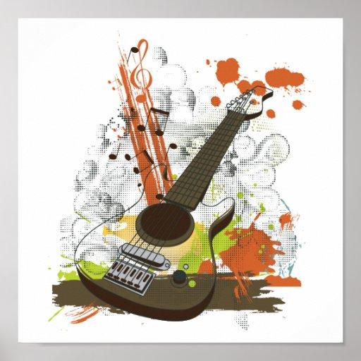guitarra eléctrica del grunge impresiones