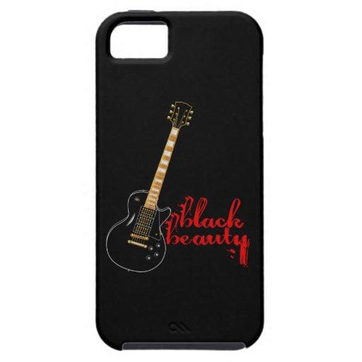 Guitarra eléctrica del Grunge negro de la belleza iPhone 5 Fundas