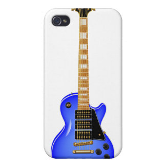 Guitarra eléctrica del metal azul iPhone 4 funda