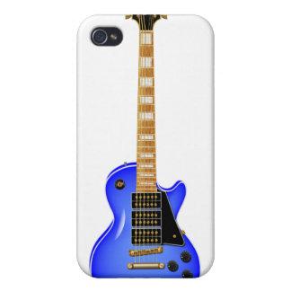 Guitarra eléctrica del metal azul iPhone 4 fundas