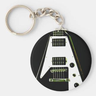 Guitarra eléctrica del vuelo V Llavero Redondo Tipo Pin