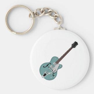 guitarra eléctrica Hueco-corpórea azulverde Llavero Personalizado