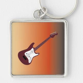 Guitarra eléctrica marrón, roja amarillear al CCB Llavero Cuadrado Plateado