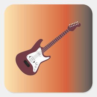 Guitarra eléctrica marrón, roja amarillear al CCB Pegatina Cuadrada