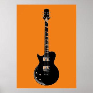 Guitarra eléctrica negra anaranjada del arte pop póster