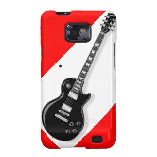Guitarra eléctrica negra blanca roja del guitarris galaxy s2 funda