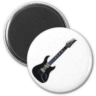 Guitarra eléctrica negra imán redondo 5 cm