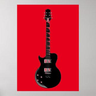 Guitarra eléctrica negra roja del arte pop póster