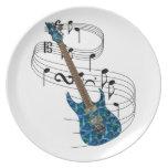Guitarra eléctrica plato de comida