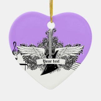 Guitarra eléctrica púrpura blanca negra con las adorno navideño de cerámica en forma de corazón