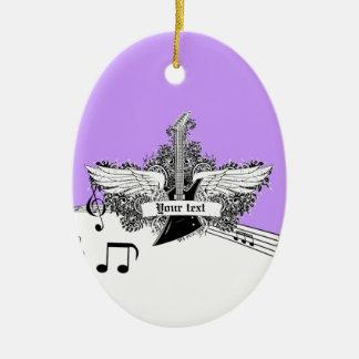 Guitarra eléctrica púrpura blanca negra con las adorno navideño ovalado de cerámica