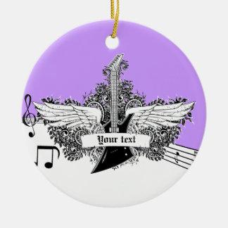 Guitarra eléctrica púrpura blanca negra con las adorno navideño redondo de cerámica
