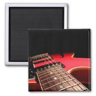Guitarra eléctrica roja imán cuadrado