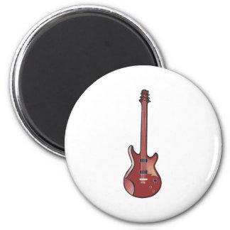 Guitarra eléctrica roja imán redondo 5 cm