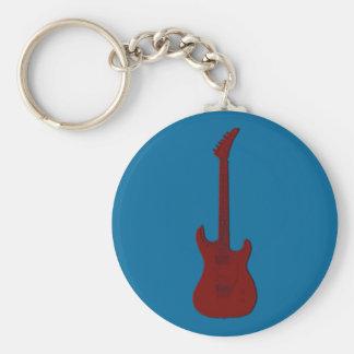 Guitarra eléctrica roja llavero redondo tipo pin