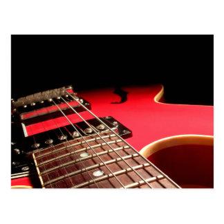Guitarra eléctrica roja tarjeta postal