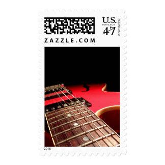 Guitarra eléctrica roja timbre postal