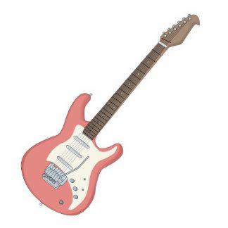 guitarra eléctrica rosada adorno fotoescultura